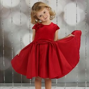 Isobella & Chloe, Royal Jewels Red Velvet Dress 4T